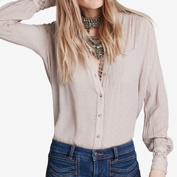 Free People Tops - Free people button down crochet back